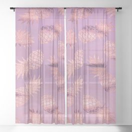 Pretty Pink & Rose Gold Pineapple Pattern Sheer Curtain