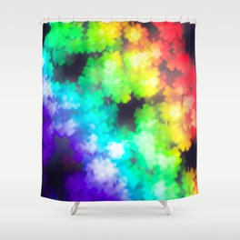 four leaved clover in rainbow colors Shower Curtain
