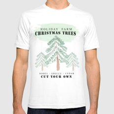Christmas Tree Farm MEDIUM White Mens Fitted Tee