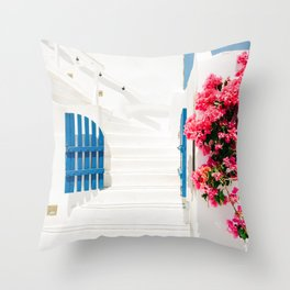 Colorful Blue Gate and White Staircases in Oia Santorini Island Greece Throw Pillow