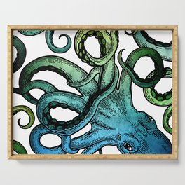 Octopus, Ocean Bue, Sea Green, Tentacles Serving Tray