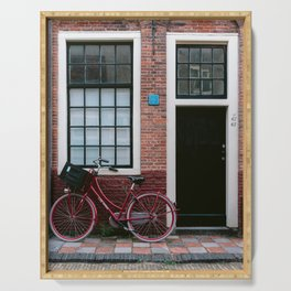 Iconic Dutch house with a red bicycle | Amsterdam, Holland | Colorful cityscape travel photography Serving Tray