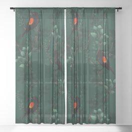 Red-Winged Blackbird Pattern Sheer Curtain