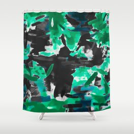 psychedelic vintage camouflage painting texture abstract in green and black Shower Curtain
