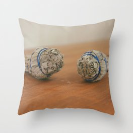 Two Bundles of Sage for Smudging Throw Pillow