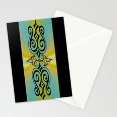 Black Ornaments on yellow blue rainbow Stationery Cards