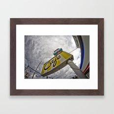 Double R Diner sign in Twin Peaks (Fisheye) Framed Art Print