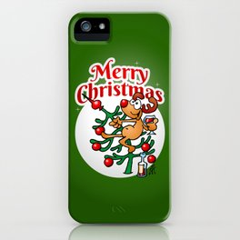 Reindeer in a Christmas tree iPhone Case