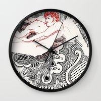 henna Wall Clocks featuring Henna Lovers by N.I.S.