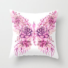 Flowery Pink Princess Butterfly Throw Pillow