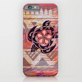 Hawaiian Tribal Turtle Abstract iPhone Case