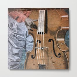Bass Player Mural Down Town Fresno Metal Print