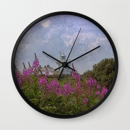Purple flowers with Cromer  Wall Clock