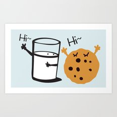 Hi Hi milk and cookie Art Print