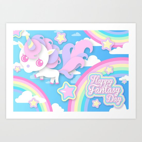 Happy Unicorn Art Print