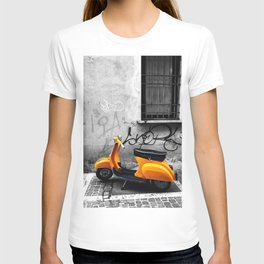 Orange Vespa in Bologna Black and White Photography T-shirt