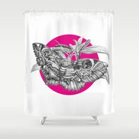 moth Shower Curtains featuring MOTH by HanYong