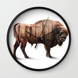 Bison Double exposure Wall Clock
