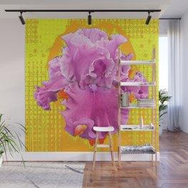 PINK FRILLY GARDEN IRIS YELLOW ART Wall Mural