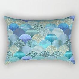 Blue Turquoise Glamour Fish Skin Scale Pattern Rectangular Pillow