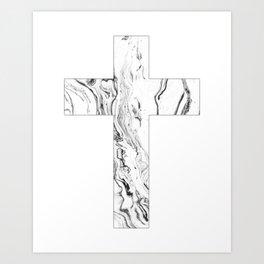 Christian cross marble black & white Art Print