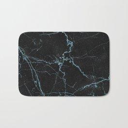 Modern abstract black teal elegant glitter marble Bath Mat