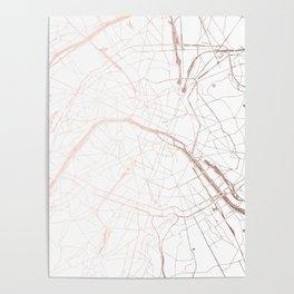 Paris France Minimal Street Map - Rose Gold Glitter Poster