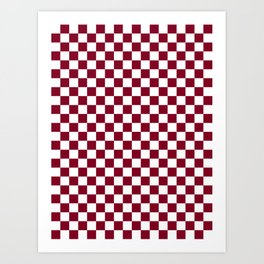 White and Burgundy Red Checkerboard Art Print