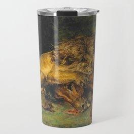 """Eugène Delacroix """"Lion dévorant un cheval"""" Travel Mug"""