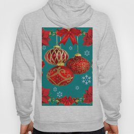 TEAL COLOR RED CHRISTMAS  ORNAMENTS &  POINSETTIAS FLOWER Hoody