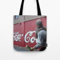 coca cola Tote Bags featuring Coca Cola Wars by Vin Zzep
