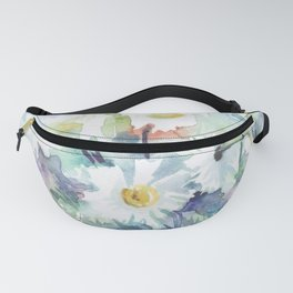 watercolor drawing - white daisies, beautiful bouquet, painting Fanny Pack