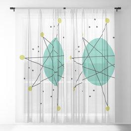 Teal Mid Century Modern Atomic Age Pattern Sheer Curtain