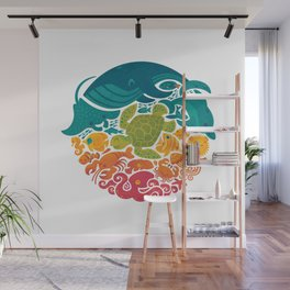 Aquatic Rainbow (white) Wall Mural