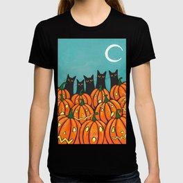 Five Black Cats and Pumpkins T-shirt