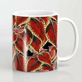 Red Leaves On Black Pattern Coffee Mug