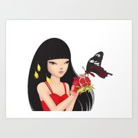 ruby Art Prints featuring Ruby by Anne  Martwijit