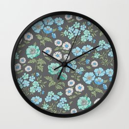Floral Flowers Vintage Garden Blue Mint Green On Dark Grey Wall Clock
