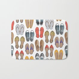 Hard choice // shoes on white background Bath Mat