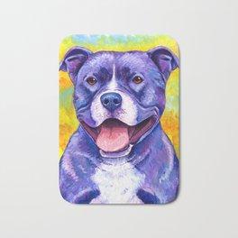 Colorful American Pitbull Terrier Dog Bath Mat