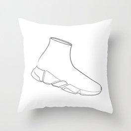 Speed runner - single line art Throw Pillow