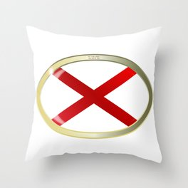 Alabama State Flag Oval Button Throw Pillow