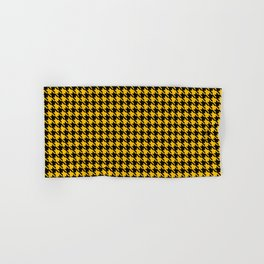 PreppyPatterns™ - Cosmopolitan Houndstooth - Yellow Gold and Black Hand & Bath Towel