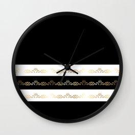Black White Gold Pattern Wall Clock