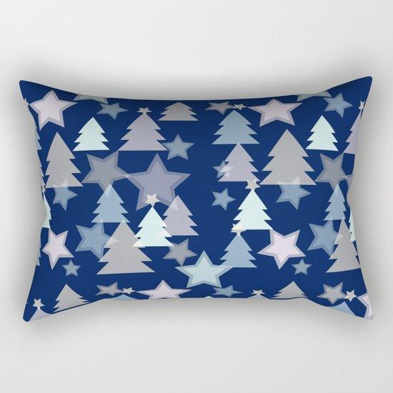 Christmas Landscape blue Rectangular Pillow