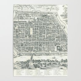 Old Map Of Pavia, Italy Poster