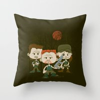 military Throw Pillows featuring The Military by DoodleHeadDee
