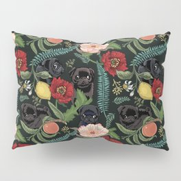 Botanical and Black Pugs Pillow Sham