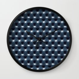 Faux Midnight Leather Buttoned Wall Clock