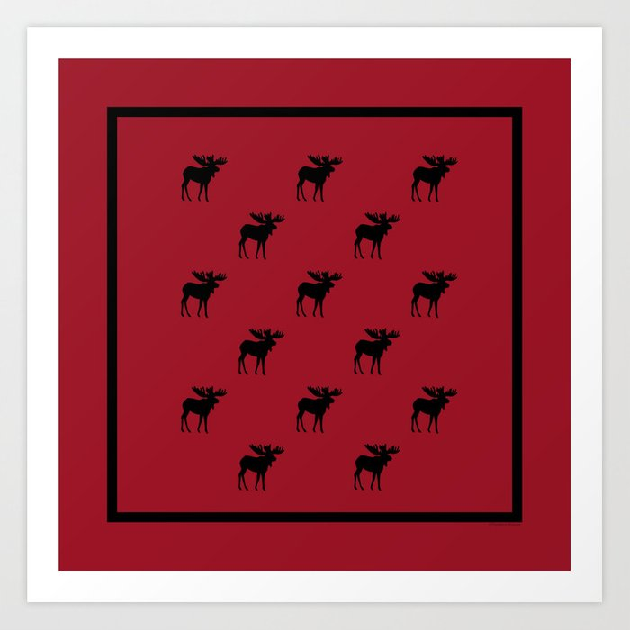 Bull Moose Silhouette - Black on Red Art Print